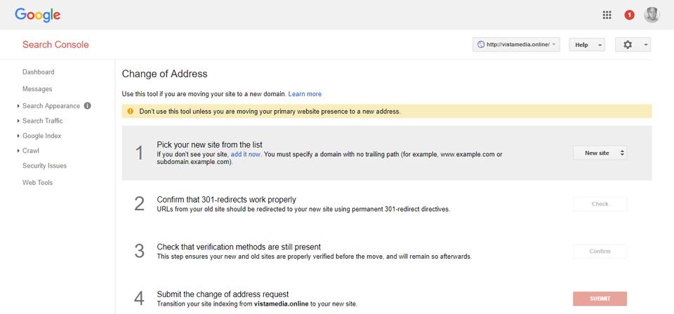 Google WebMaters - изменение адреса
