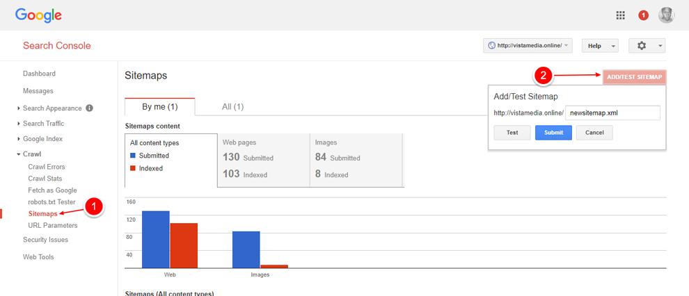 Google Webmasters - карта сайта