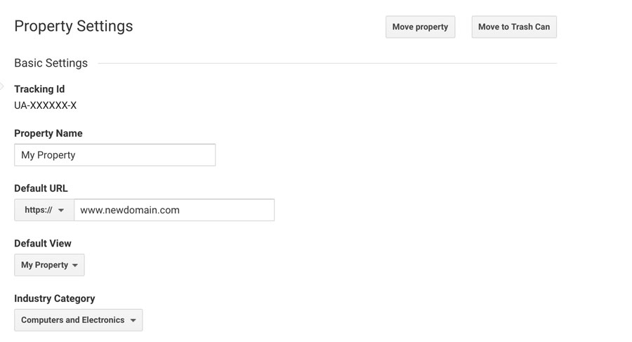 Google Analytics - изменить домен