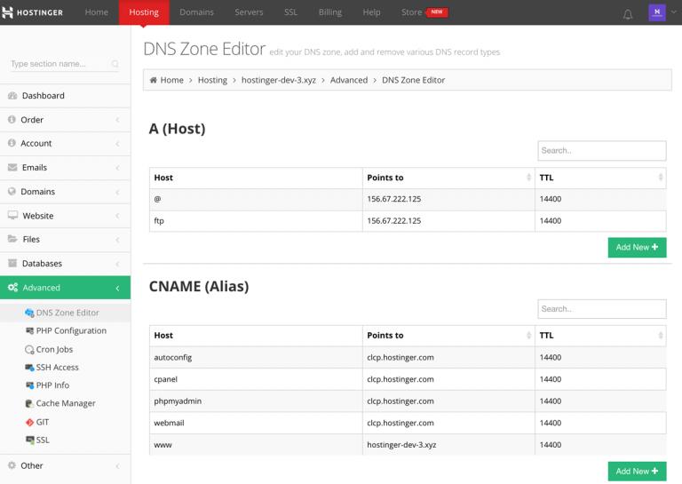 Обзор секции редактора зон DNS в Hostinger